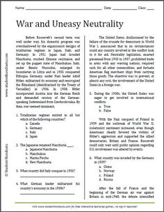 War and Uneasy Neutrality - Reading Worksheet | Free to print (PDF file). For high school American History.: