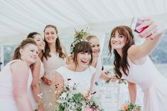Beautiful Bridal Party Taking A Selfie - Delicate Flower Crown For A Rustic Church Of England Wedding With Bride in Pronovias and Reception At The Local Pub Images by Kate Gray Photography Asos Wedding, Trendy Wedding, Wedding Reception Photography, Wedding Photos, Wedding Ideas, Blue Bridesmaid Dresses Short, Wedding Dresses, Bridesmaids, Floral Crown Wedding
