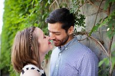 Engagement photo on wall with vines - Photo by Victor Rosas Photography Outdoor Engagement Photos, Blind Dates, Sweet Couple, Tie The Knots, Engagement Photography, Vines, Bride, Couple Photos, Wall