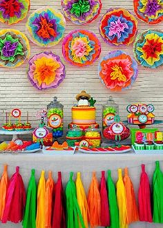 Mexican Birthday Parties, Mexican Fiesta Party, Fiesta Theme Party, Mexican Party Supplies, Mexican Party Decorations, Frida Kahlo Party Decoration, Mexican Paper Flowers, Fiestas Party, Amazon
