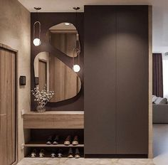 Hallway lighting ideas entrance halls mirror 20 new ideas Hall Wardrobe, Wardrobe Door Designs, Wardrobe Design Bedroom, Bedroom Cupboard Designs, Modern Wardrobe, Home Entrance Decor, Entrance Design, Entryway Decor, Home Decor