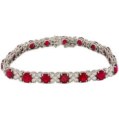 Preowned Estate Ruby And Diamond Brilliant Bracelet (87390 QAR) ❤ liked on Polyvore featuring jewelry, bracelets, royal jewellry, multiple, diamond jewelry, pre owned jewelry, 18 karat gold jewelry, ruby bangles and preowned jewelry