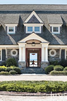 Country Front Exterior with Stone Entrance - Luxe Interiors + Design Style At Home, Houses Architecture, Futuristic Architecture, Cape Cod Style House, Beach Cottage Style, Coastal Style, Coastal Homes, House Front, Home Fashion