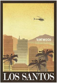 Los Santos Retro Travel Movies Poster - 30 x 41 cm Gaming Posters, Room Posters, Travel Posters, Movie Posters, San Andreas, Video Game Posters, Design Blog, Grand Theft Auto, Vintage Travel