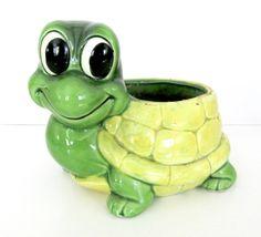 Vintage Turtle Planter 1960's Relpo Ceramic by ThirstyOwlVintage, $21.50