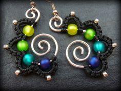 Macrame Earrings GREEN and BLUE Dangle Earrings by ArohaJewelz, €15.00