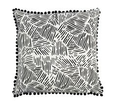 Lines in Black Throw Cushion with Black Pom Pom by ZanaProducts