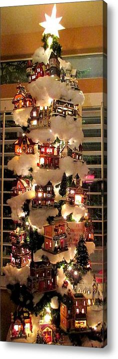 Village Christmas Tree Acrylic Print By Randall Weidner