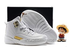 03361c522f4e98 Kids Air Jordan 12 All White Gold HZGFK. New Nike ShoesCool ...