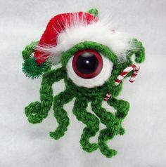 Festive Holiday Cthulhu Baby Key Christmas Ornament. $20.00, via Etsy.
