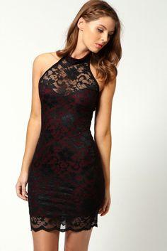 Open Back Mock Neck Mini Black Dress
