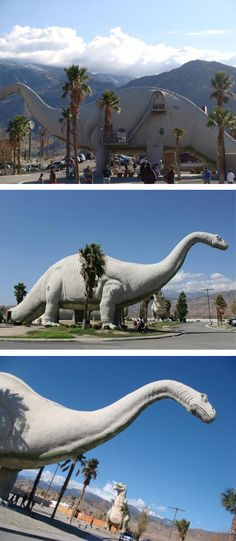 """DONE APRIL Created in the by Claude Bell, a theme park artist and sand sculptor, the Cabazon Dinosaurs were originally referred to as """"Claude Bell's Dinosaurs"""" and intended to attract roadside customers to Bell's business, The Wheel Inn Cafe. Cabazon Dinosaurs, Abandoned Amusement Parks, On The Road Again, Roadside Attractions, Road Trippin, Us Travel, Worlds Largest, Places To See"""