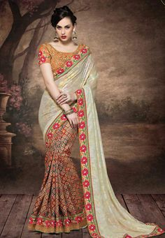 #Multicolor #Fancy #Georgette And #Fancy #Silk #Saree With #Blouse.  Multicolor Fancy Georgette And Fancy Silk Saree designed with Hand Embroidery with Thread Work.  INR: 6,032.00  With Exclusive Disounts  Grab:http://tinyurl.com/gwou2q9