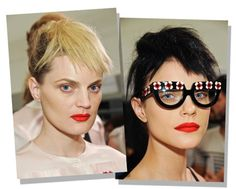 Beautyfull red lips and funky glasses....at Prada ss13