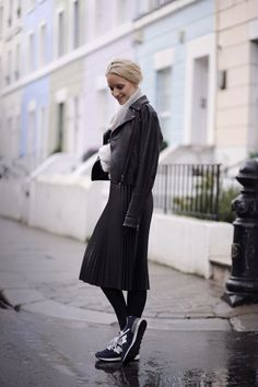 Pleated skirt   THEFASHIONGUITAR. Great combination of sneakers, skirt and leather jacket. Love it!