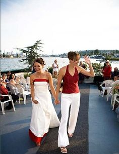 Red-and-white palette. #same-sex #weddings #lesbian | http://best-complete-sex-guide.blogspot.com