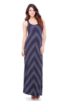 Ingrid & Isabel Stripe Racerback Maxi Maternity Dress in Chevron.Please use coupon code NewProducts to receive 15% off these items. To receive the discount, please place your order by midnight Monday, April 20, 2015