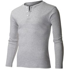 FLATSEVEN Men's Casual Henley Shirt with Button (23,580 KRW) via Polyvore featuring mens, men's clothing, men's shirts and men's casual shirts