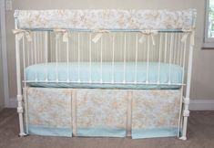 Classic Central Park Toile Baby Boy  Blue and Cream / Ivory Crib Bedding with Crib Rail Guard / Rail Cover