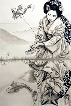 """The Fox Woman by segdavinci.deviantart.com on @deviantART - From the artist's comments: """"This illustration is based on the Japanese folk tale of a fox who falls in love with a human man, and uses her magic to appear human for him."""""""