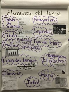Spanish anchor charts: nonfiction text features (elements del recto)
