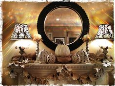 Beautiful autumn decorating ideas | Beautiful Fall Mantle - Decorating on a Dime Inspiration - More With ...