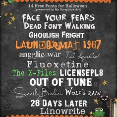 14 Free Fonts for Halloween  ~~ {w/ links}