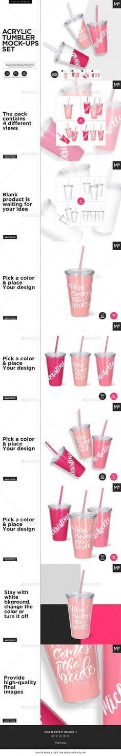 Acrylic Tumbler #Mock-ups Set - Food and Drink #Packaging
