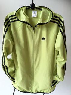 S O L D  Adidas Lime Zip Windbreaker Hooded Athletic Jacket Shell Women US M UK 14 EU 40 #Adidas #Windbreaker