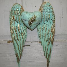 Angel wings wall decor with heart shabby chic rusty metal cottage mint sea foam mix hints of gold Anita Spero
