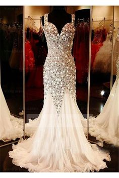 Shop discount Mermaid Straps Court Train White Tulle Backles Evening Dress with Rhinestones/Crystal WNED0006