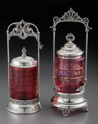 Two American Silver-Plated and Glass Pickle Casters, late 19th century Marks: (various) 12-1/4 inches high (31