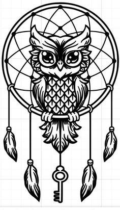 Dream-catcher black and white owl. Vector line