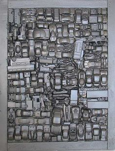 Spray Painted Toy Cars - Wall Art - Fill Some Voids Mixed Media Assemblage art by John Robertson