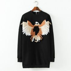 Back Zipper Long Sleeve Embrodeiry Eagles Dress