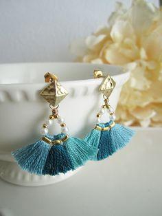 Mint blue tassel earrings Boho earrings Gypsy earrings