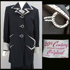Rare 3 Piece 1940s Women's Suit Top Coat, Jacket, Skirt, Size Large from toinetterl on Ruby Lane