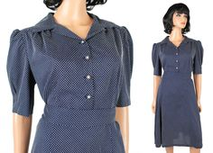 50s Style Shirt Dress Sz XL Vintage Navy Blue White Swiss Polka Dot Pin Up Girl Free US Shipping by HepCatClothes on Etsy