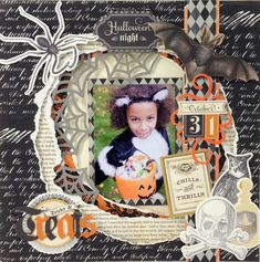 Anna Griffin Halloween scrapbook page Halloween Scrapbook, Kids Scrapbook, Scrapbook Cards, Scrapbooking Ideas, Birthday Scrapbook, Halloween Paper Crafts, Halloween Cards, Scrapbook Sketches, Scrapbook Page Layouts