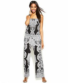 INC International Concepts Sleeveless Printed Smocked Jumpsuit
