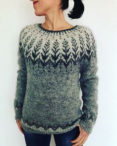 """Vintersol (""""winter sunshine"""") is inspired by a walk in a frosty, wintery meadow. This example is made with a soft and wooly double strand of Camilla Vad yarn, which creates a lofty worsted weight that Fair Isle Knitting, Hand Knitting, Tejido Fair Isle, Pull Jacquard, Icelandic Sweaters, Pulls, Knitting Projects, Ravelry, Knitting Patterns"""