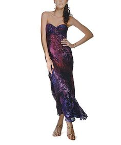 $169.99 Look what I found on #zulily! Purple Floral Kailey Silk Gown & Shawl #zulilyfinds