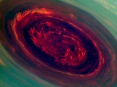 The Eye of Saturn's Hurricane as captured by Cassini's imaging cameras: The eye of this hurricane at Saturn's north pole is a staggering 1,250 miles across with cloud speeds as fast as 330 miles per hour, spinning counterclockwise in the north, just like the hurricanes on earth.  Scientists don't know how long it has been active. by NASA/JPL-Caltech/SSI via popsci.