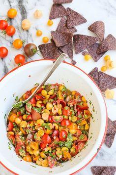 Cherry Tomato and Ground Cherry Salsa from afarmgirlsdabbles.com