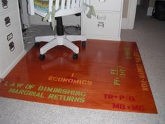 DIY chair mat: Underlayment stained & designed with stencils Patio Chair Cushions, Diy Chair, Diy Desk, Patio Chairs, Beach Chairs, Dining Chairs, Home Office, Office Floor, Office Chair Mat