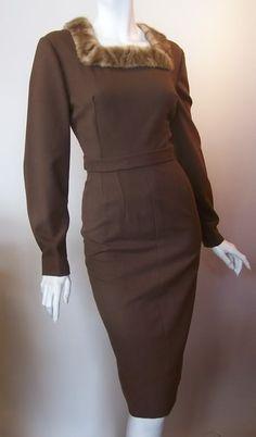 Dorothea's Closet Vintage Dress 50s Dress Mink Trimmed Wiggle