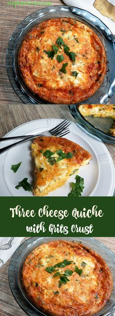 Three Cheese Quiche with Grits Crust is a tasty, healthy quiche that is both vegetarian and gluten free. Perfect for brunch or dinner.