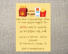 an invite I made for a Mcdonalds birthday party a friend ...