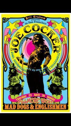 Joe Cocker, Van Morrison, The Stonemans - Fillmore West - April 26 - Mad Dogs and Englishman Tour Poster Love, Poster Shop, Joe Cocker, Vintage Concert Posters, Vintage Posters, Rock Band Posters, Blues Rock, Poster Design, Pop Rock