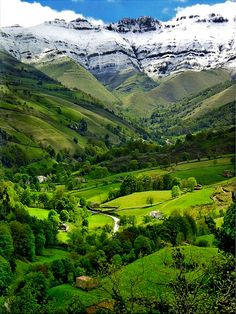 The Pyrenees, Spain...this little valley could be the home of the very...very...very old Pyrenees Trolls. But that is another story.